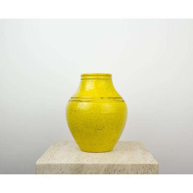 Rosenthal Netter Bitossi for Rosenthal Netter Yellow Pottery Vase For Sale - Image 4 of 9