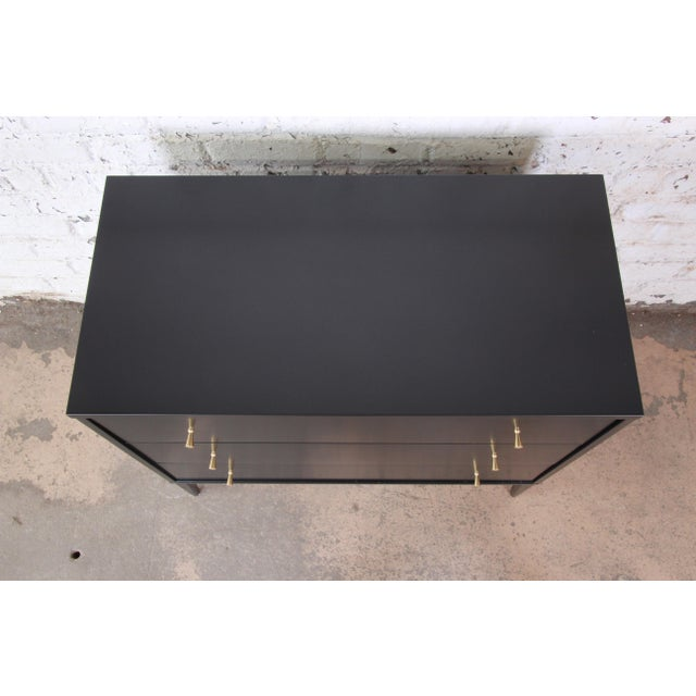 1950s Paul McCobb Planner Group Black Lacquered Three-Drawer Bachelor Chest, Newly Restored For Sale - Image 5 of 13