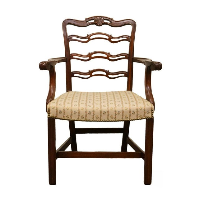 Brown 1940's Traditional Duncan Phyfe Mahogany Ladderback Dining Arm Chair For Sale - Image 8 of 8