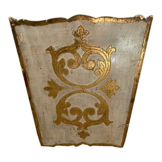 Italian Hand Painted Gold-Leaf Waste Bin For Sale