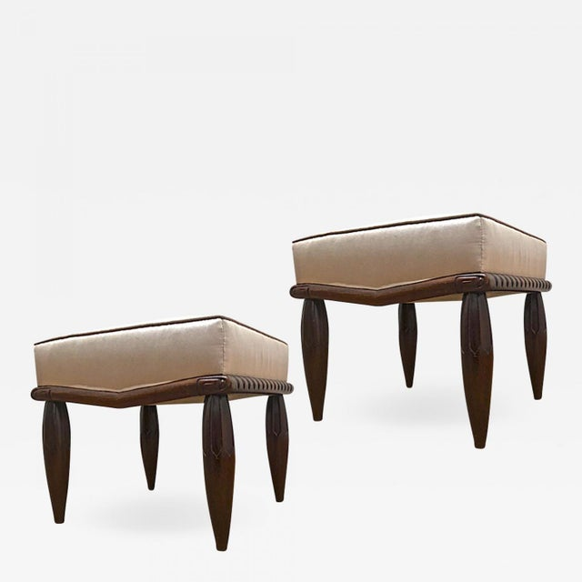 Silk Georges De Bardyere Art Deco Refined Carved Pair of Stools Newly Recovered in Skin Silk For Sale - Image 7 of 7
