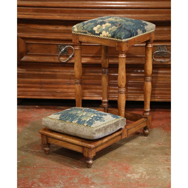 Blue 18th Century French Carved Chestnut Prayer Chair With Aubusson Tapestry For Sale - Image 8 of 8