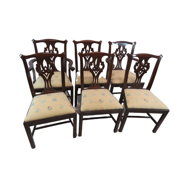 Henkel Harris Chippendale Dining Mahogany Chairs Model 101 - Set of 6 For Sale - Image 12 of 13