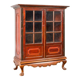 Dutch Colonial Antique Lacquered Wood Cabinet with Glass Doors and Cabriole Legs For Sale