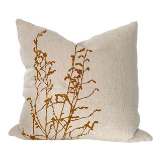Botanical Hand Printed Linen Pillow - Mustard For Sale