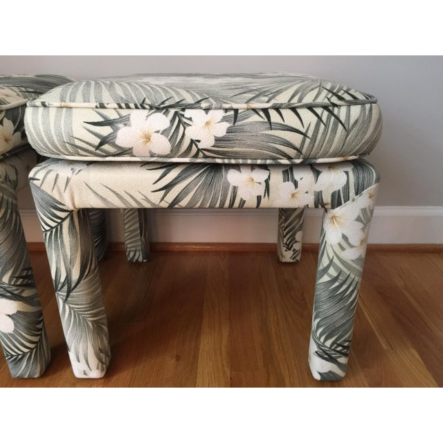 Parsons Stools With Palm Leaf Fabric - A Pair For Sale - Image 9 of 11