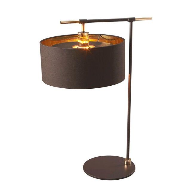Balance Brown/Polished Brass Table Lamp For Sale In Baton Rouge - Image 6 of 7