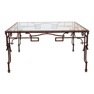 Red Bamboo Style 1970's Iron Coffee Table For Sale