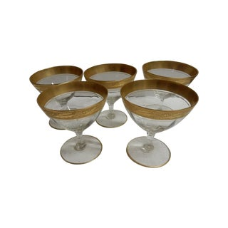 Gold Rimmed Coupes - Set of 5