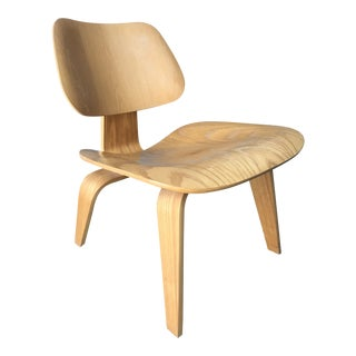 Contemporary Eames for Herman Miller Tan Wood LCW Lounge Chair