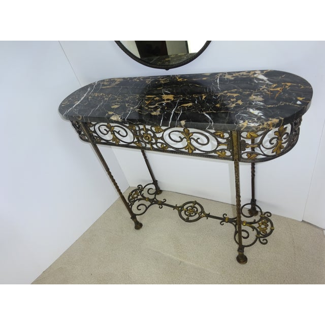 Antique Oval Marble Console with Mirror - Image 11 of 11