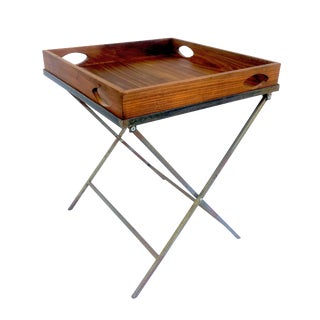 1990s Danish Modern Walnut and Distressed Steel Reversible Tray Table For Sale