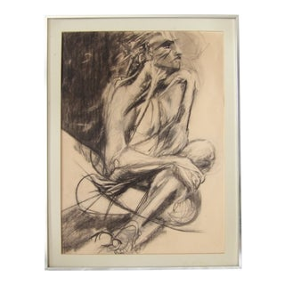 1980s Original Female Figure Charcoal Drawing For Sale