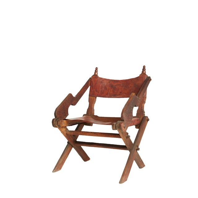 Leather & Carved Wood Mexican Modern Chair - Image 2 of 5