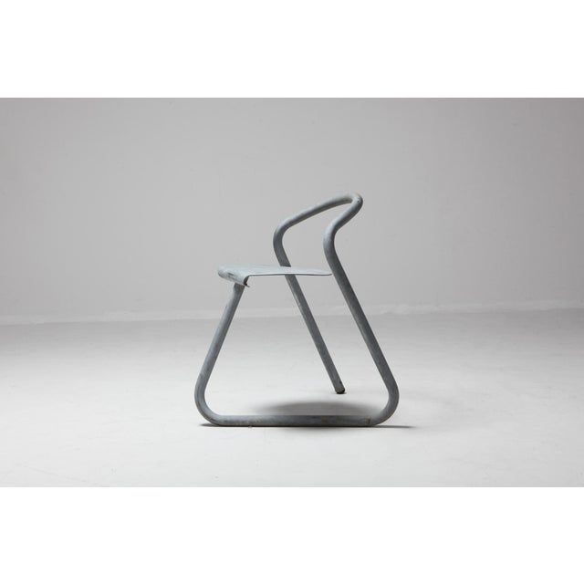 Contemporary Danish Stackable Chairs in Galvanized Steel by Erik Magnussen, Set of Nine For Sale - Image 3 of 10