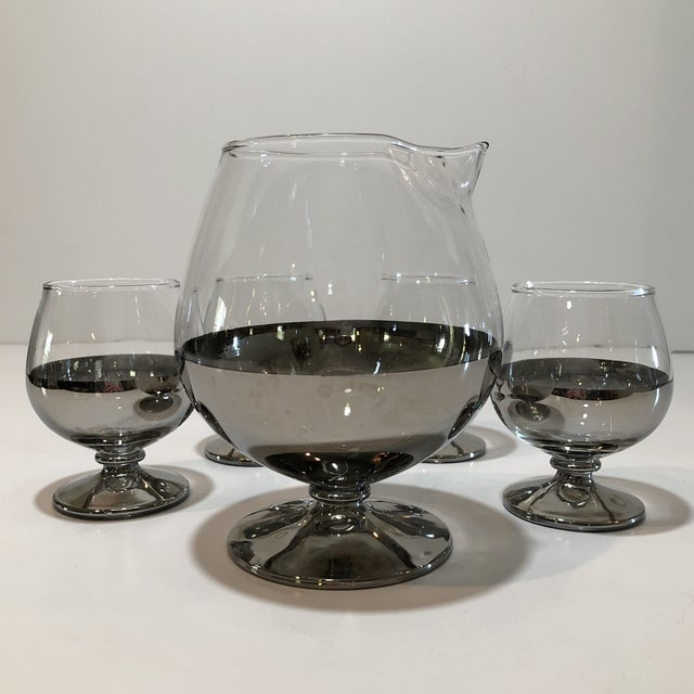 Glass Mid Century Platinum Ombre Decanter and Snifter Glasses - Set of Five For Sale - Image 7 of 9