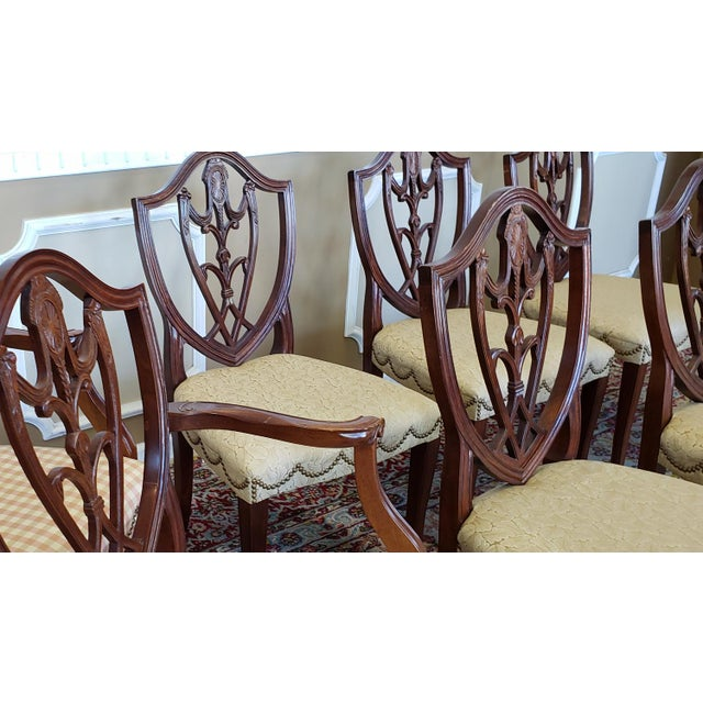 Shield Back Dining Room Chairs: Set 8 Mahogany Hickory Chair Co Hepplewhite Style Shield