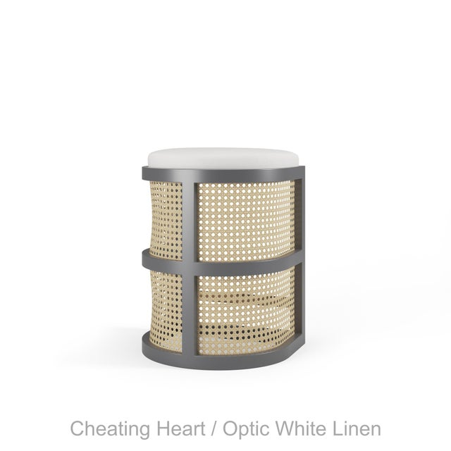 Not Yet Made - Made To Order Isabella Counter Stool - Cheating Heart Charcoal, Optic White Linen For Sale - Image 5 of 5