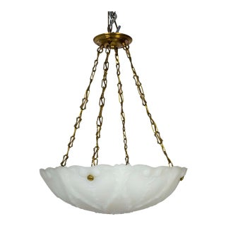 Large Nouveau Molded Milk Glass Pendant With Decorative Brass Chain For Sale