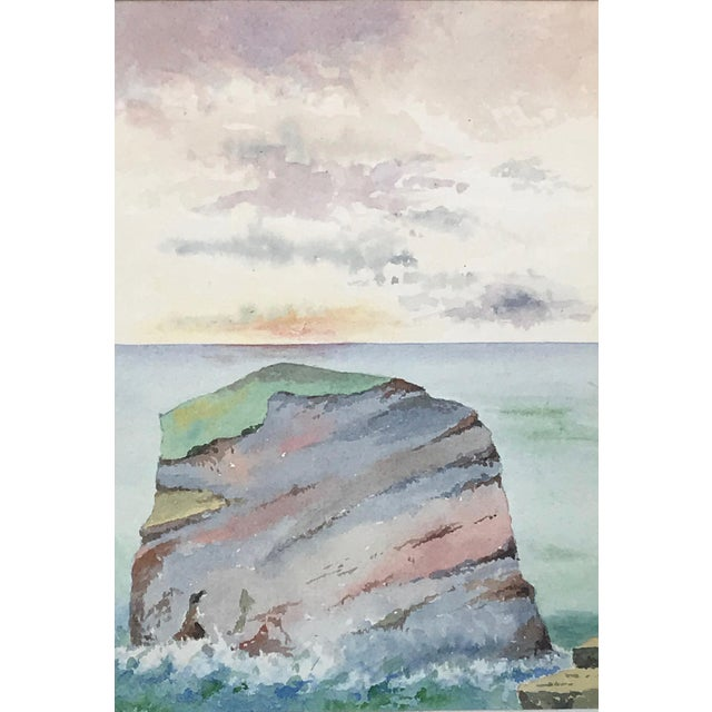English Traditional Antique English Watercolor Painting of Sunset on Coastal Rock Formation For Sale - Image 3 of 9