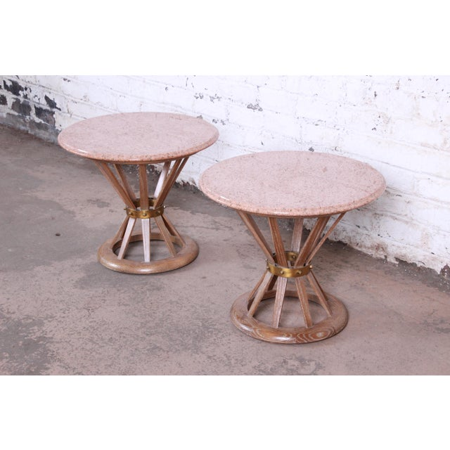 Danish Modern Edward Wormey for Dunbar Style Sheaf of Wheat Marble Top Side Tables, Pair For Sale - Image 3 of 12