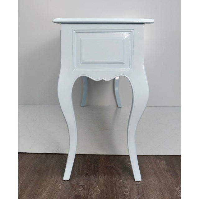 French Mid 20th Century French Carved Blue & White Lacquered Console Table For Sale - Image 3 of 9