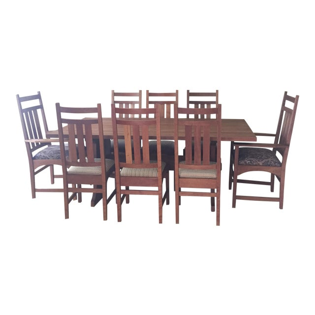 Stickley Dining Room Furniture For Sale: Stickley Mission Cherry Dining Table & 8 Chairs