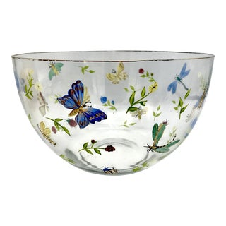 Vintage Gold Rimmed Hand Painted Crystal Bowl