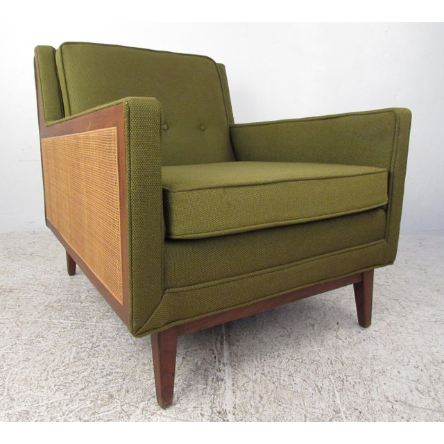 Mid-Century Modern Upholstery and Cane Armchair For Sale - Image 10 of 10