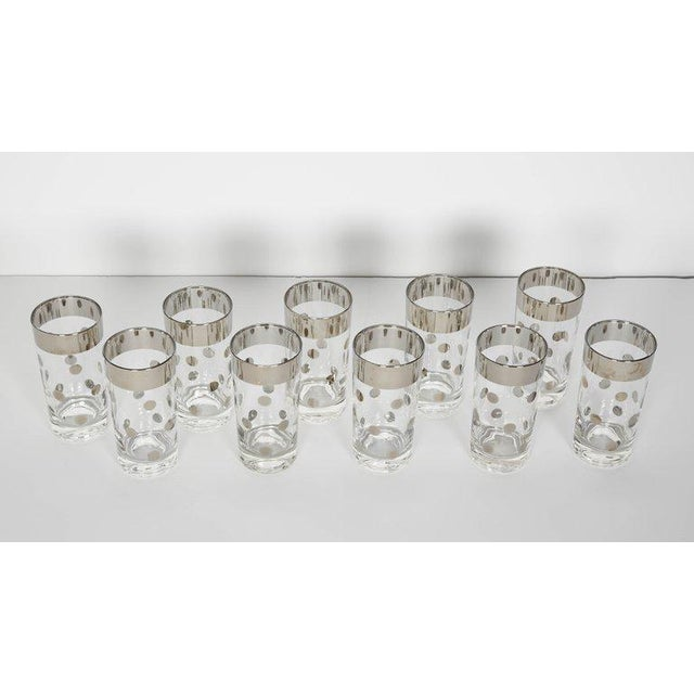 Art Deco Set/10 Mid Century Barware Glasses With Polka Dot Design by Dorothy Thorpe For Sale - Image 3 of 6