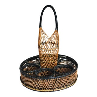 Vintage Rattan Drinks Server Tray and Bottle Holder - 2 Pieces For Sale
