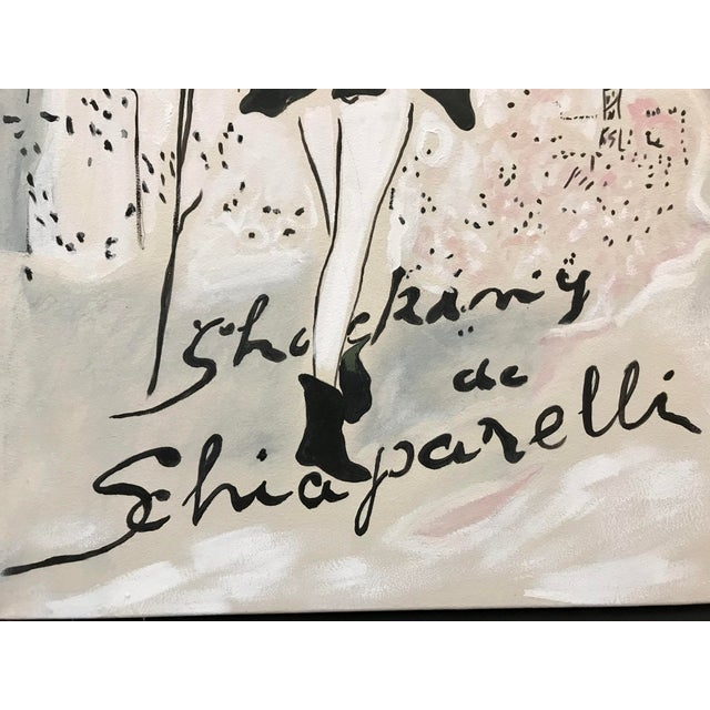 Acrylic hand painted painting on canvas depicting Elsa Schiaparelli Shocking fragrance advertising from a 1940s magazine....