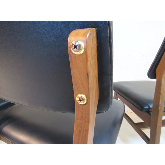 Brass Jens Risom Series 7611 Walnut Dining Chairs For Sale - Image 7 of 10