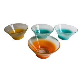 Mid-Century Frosted Color Glass Dessert Bowls - Set of 4 For Sale