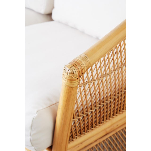 Midcentury Bamboo Rattan Wicker Settee or Loveseat For Sale - Image 10 of 13