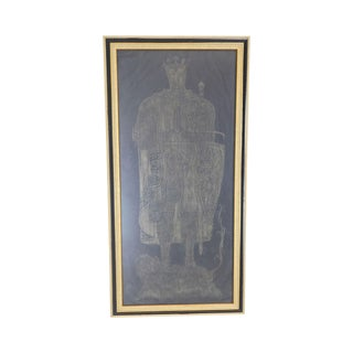 Framed Tombstone or Brass Rubbing of Medieval Royal Knight Standing on Lion on Black Paper For Sale