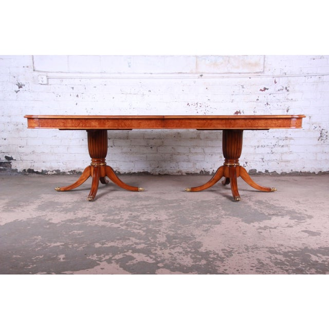 Metal Outstanding 13 Foot Burled and Inlaid Regency Style Extension Dining Table For Sale - Image 7 of 13