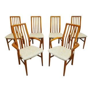Mid Century Danish Modern Teak Highback Kai Kristiansen #170 Dining Chairs- Set of 6 For Sale