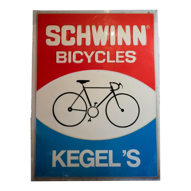 Vintage Acrylic Lucite Reverse Embossed Schwinn Bicycle Sign For Sale