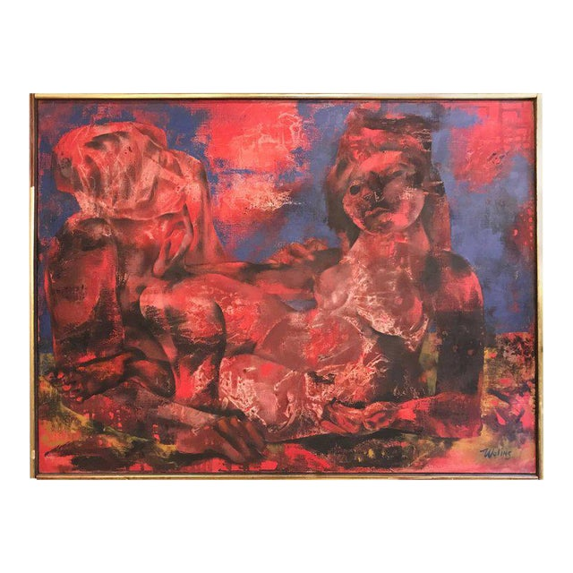 "Joseph Wolins ""Two Figures II"" Painting For Sale - Image 12 of 12"