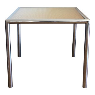 1970's Milo Baughman Chrome & Cane Side Table