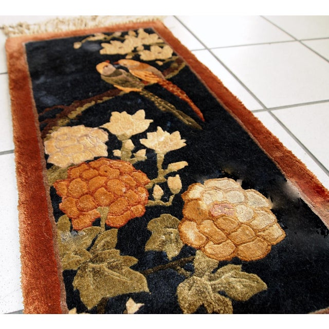 1980s Handmade Vintage Silk Chinese Mat Rug - 1' x 2' For Sale - Image 9 of 9