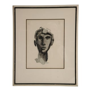 Signed Mid Century Ink Wash Drawing of a Head For Sale