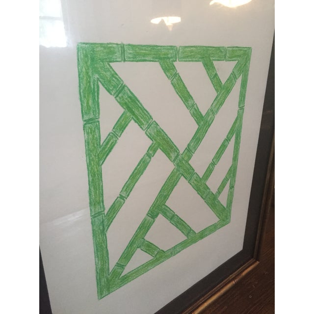 Asian Palm Beach Regency Faux Bamboo Framed Trellis Art For Sale - Image 3 of 10