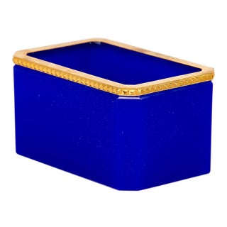 French Royal Blue Opaline Glass Box With Brass Mounts For Sale