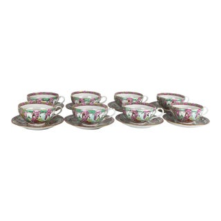 Rose Medallion Cups and Saucers - Service for 8 For Sale
