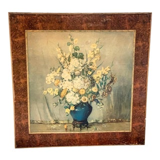 Vintage Still-Life Print Folding Card Table, Circa 1946 For Sale