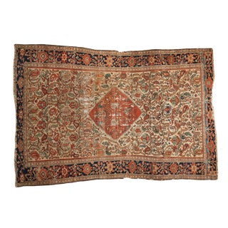"""Distressed Fine Colorful Antique Malayer Rug - 4'2"""" X 6' For Sale"""