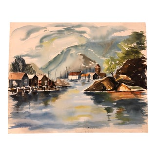 Mid-Century Modern Watercolor of a Lake or Sea Inlet For Sale