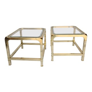 Pair of Midcentury Brass and Beveled Glass Mastercraft End Tables For Sale